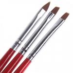 Набор кистей д\дизайна 3 шт скошенная, лепесток, прямая (красная с черным ручка)