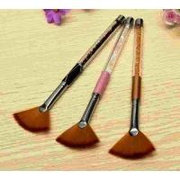 Кисть веерная,рыжий ворс, ручка розовая со стразами (Япония)
