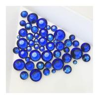 Набор страз микс размеров (500-600шт) от S3 -S16 стекло, высокое качество, ярко синие