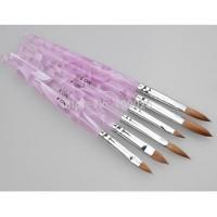 Кисть д/акрила (соболь) № 4 для моделирования и лепки (кошачий язычок) пластиковая сиреневая ручка