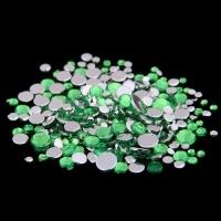 Набор страз микс размеров (500-600шт) от S3 -S16 стекло, высокое качество, салатовые