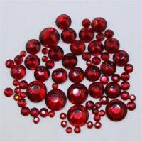 Набор страз микс размеров (100 шт) от S3 -S16 стекло, красные ГОЛОГР.