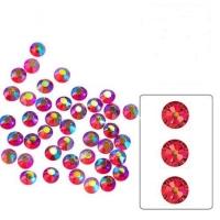 Набор страз микс размеров (100 шт) от S3 -S16 стекло, высокое качество,розовые голография