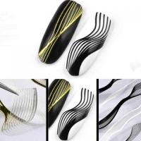 3D гибкая лента д/дизайна ногтей, воздушные волны ЧЕРНЫЕ-ЗОЛОТО