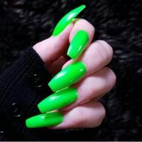 SHELLAK PANTERA  71 Неоновый яркий зеленый плотный тон без блесток.
