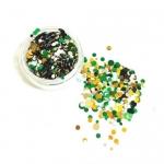 Конфетти камифубуки микс (разные цвета,разные размеры) зеленый,золото,белый