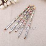 Набор кистей для дизайна 5 шт( ручки в цветочек,белые)