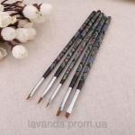 Набор кистей для дизайна 5 шт( ручки в цветочек,черные)