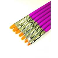 Кисть для геля овал, сиреневая ручка, № 12 (Япония)