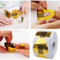 Формы для моделирования ногтей бумажные 500шт (золото)