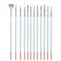 Набор кистей для дизайна 12 шт белые ручки