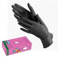 Перчатки нитриловые усиленные черные, р-р S, уп/50 пар