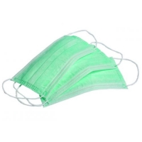 Маска защитная трехслойная уп/50 шт, зеленая