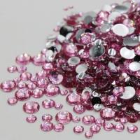 Набор страз микс размеров (500-700 шт) от S3 -S16 стекло, высокое качество,розовые