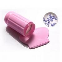 Штамп для стемпинга, силиконовый, розовый со скребком (большой)