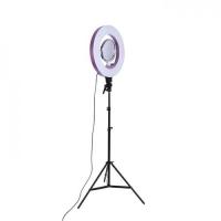 Кольцевая лампа визажиста напольная для фото съемки средняя ( пульт, от 220вТ и от USB ,регулировка яркости и теплоты, высота до 2,5 м, диам.лампы 25 см)