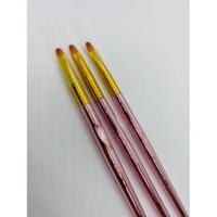НАБОР КИСТЕЙ Д/ГЕЛЯ И ДИЗАЙНА 3 ШТ (ручки розовый хром), ОВАЛ